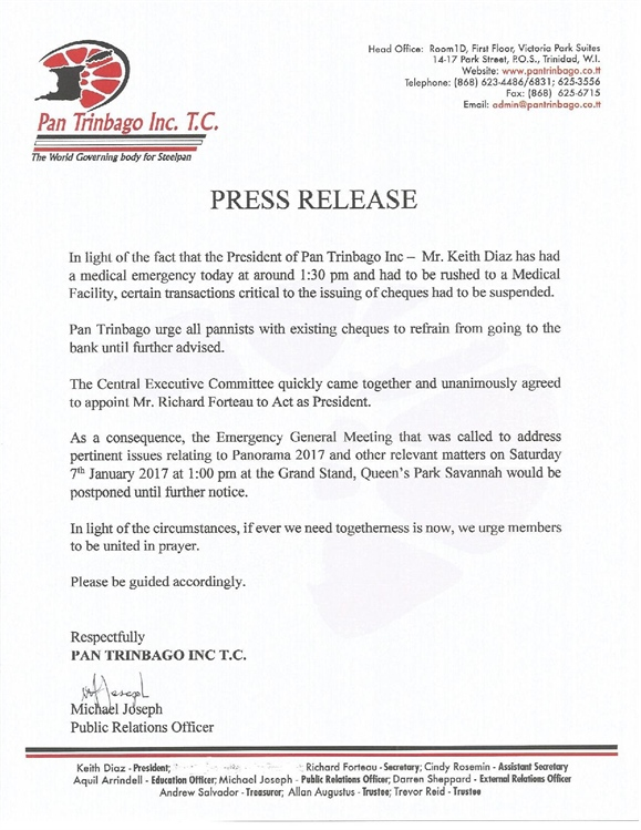 Press Release: Medical issues with the President